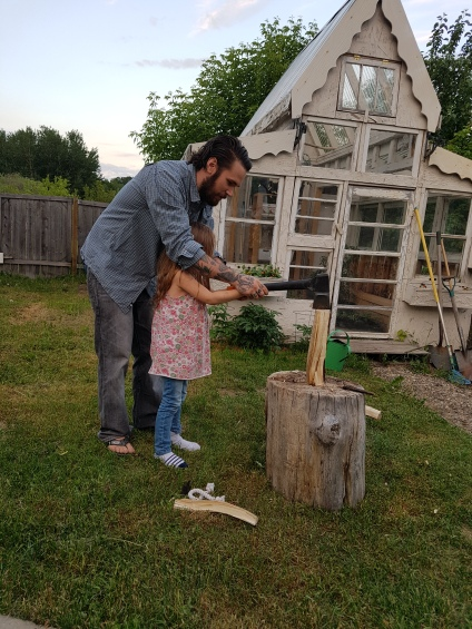 learning to chop wood